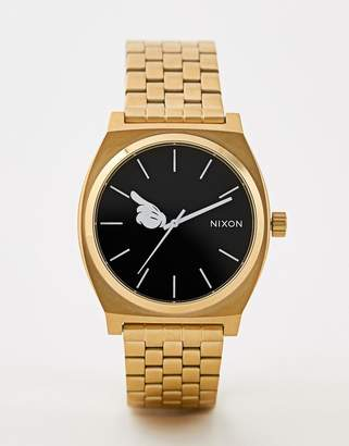 Nixon X Mickey Mouse Time Teller Watch In Gold