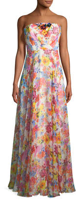 Milly Monica Strapless Floral Silk Gown