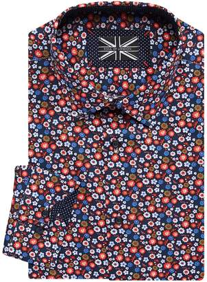 Soul Of London Slim-Fit Long Sleeve Floral-Print Dress Shirt