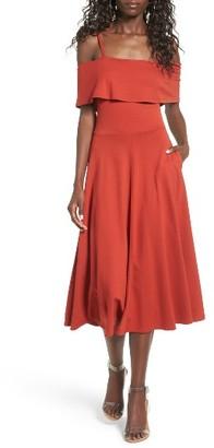 Women's Leith Cold Shoulder Midi Dress $69 thestylecure.com