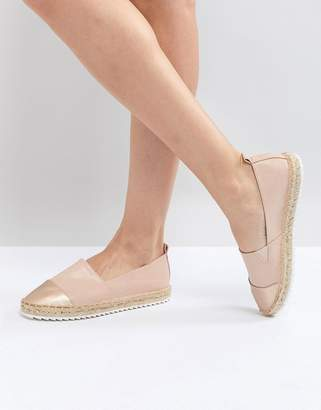 Head Over Heels by Dune Slip on Shoe with Espadrille Sole and Metallic Toe Cap