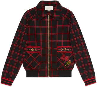 Gucci Check wool bomber with patches