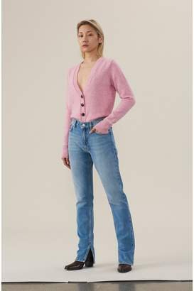 Ganni Classic Denim Slit Pants - Bleached Denim
