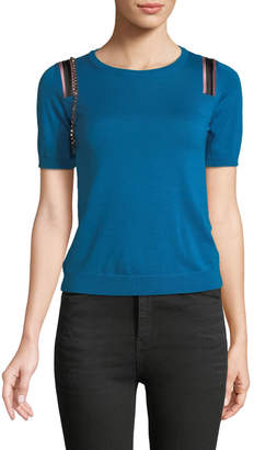 No.21 No. 21 Short-Sleeve Wool-Silk Sweater w/ Embellishments