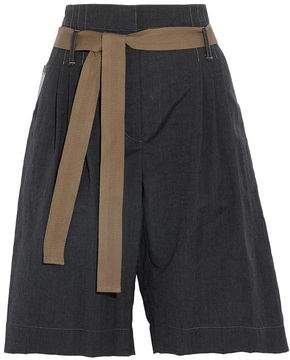 Brunello Cucinelli Belted Wool And Linen-Blend Shorts