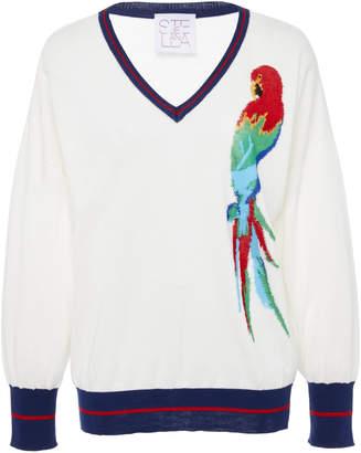 Stella Jean Intarsia-Knit Cotton-Blend V-Neck Sweater