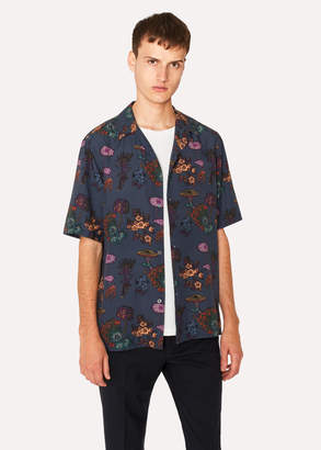 Paul Smith Men's Tailored-Fit Slate Blue 'Florian' Print Short-Sleeve Shirt
