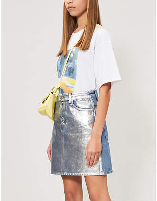 Sandro Kennah high-rise metallic denim skirt