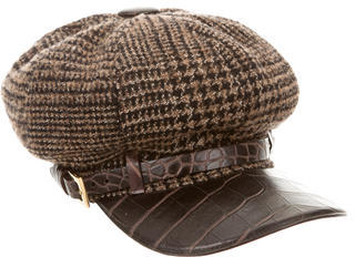 Dolce & Gabbana Dolce & Gabbana Wool-Blend Leather Trimmed Cap