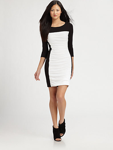 Theory Skyla Ruched Colorblock Dress