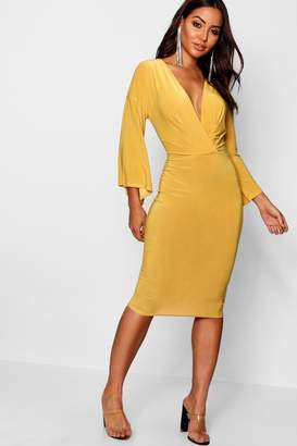boohoo Wrap Flared Sleeve Midi Dress