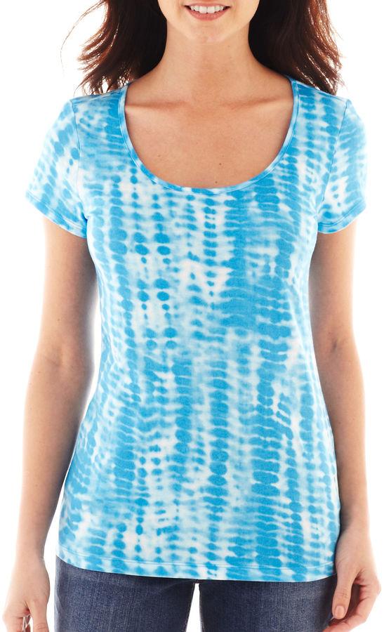 Liz Claiborne Short-Sleeve Tie-Dyed Tee