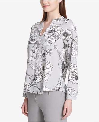 Calvin Klein Printed Roll-Tab-Sleeve Top