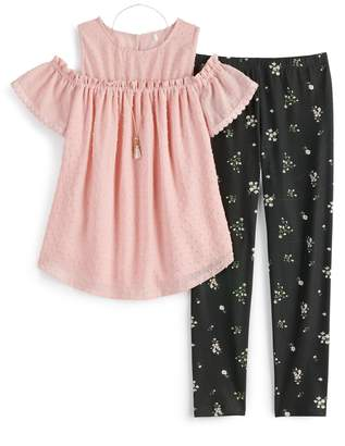 Knitworks Girls 7-16 & Plus Size Ruffled Cold Shoulder Top & Leggings Set with Necklace