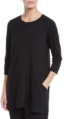 Eileen Fisher 3/4-Sleeve Organic Cotton Jersey Tunic with Pockets, Plus Size