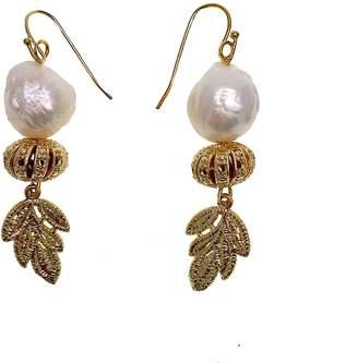 Farra - Freshwater Pearls & Carved Brass Findings Earrings