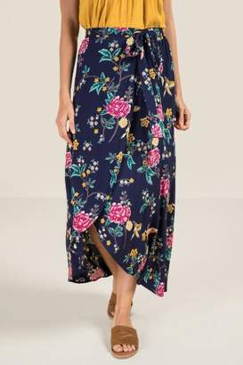 Paris Waist Tie Wrap Maxi Skirt - Navy