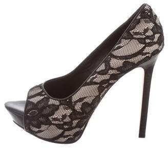 Alice + Olivia Lace Peep-Toe Pumps