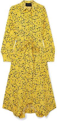 Cédric Charlier Asymmetric Floral-print Silk Crepe De Chine Midi Dress - Yellow
