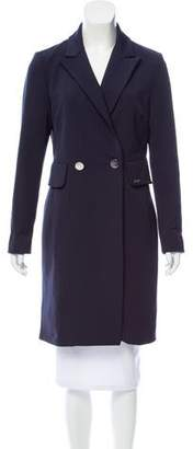 Pink Tartan Double-Breasted Knee-Length Coat