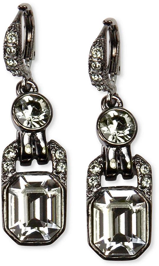 Black Diamond Givenchy Earrings, Light Hematite Tone Crystal Drop Earrings