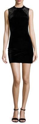 French Connection Viven Velvet Dress w/Lace Trim, Black $178 thestylecure.com