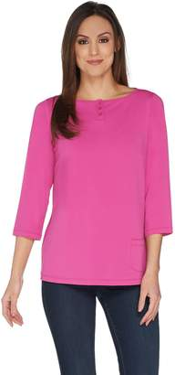 Joan Rivers Classics Collection Joan Rivers Jersey Knit Henley Top with 3/4 Sleeves