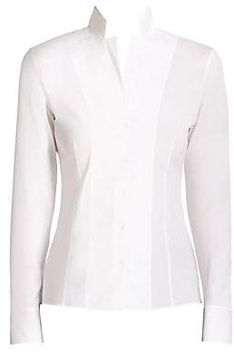 Akris Women's Stand Collar Poplin Blouse