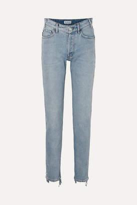 Balenciaga Distressed High-rise Straight-leg Jeans - Blue