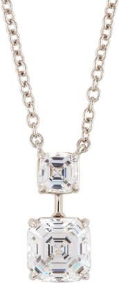 FANTASIA Asscher-Cut Crystal Double-Drop Pendant Necklace Clear