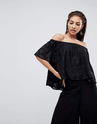 Finders Keepers Better Days Off Shoulder Ruffle Top