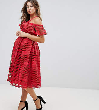 921f6bc4023f3 Asos Lace Cold Shoulder Midi Dress