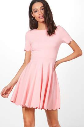 boohoo Alice Scallop Detail Skater Dress