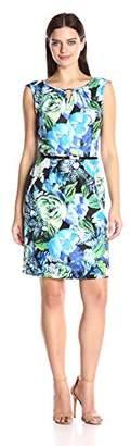 Ellen Tracy Women's Floral Print Dress with Belt