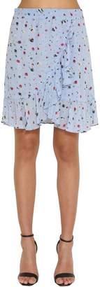 Ganni Printed Ruffled Georgette Mini Skirt