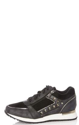 at Quiz Clothing Quiz Black Stud Lace Up Trainers