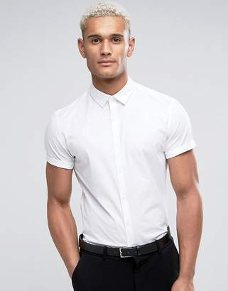 Asos Design Slim Shirt In White With Short Sleeves
