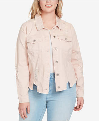 Jessica Simpson Trendy Plus Size Cotton Ripped Denim Jacket