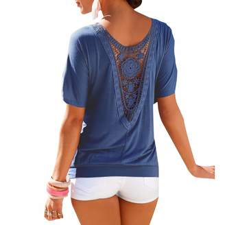 f3ef8802f836 at Amazon Canada · Qiyun Women Summer Short Sleeve Shirts Open Back Crochet  Lace Loose Tops Blouse