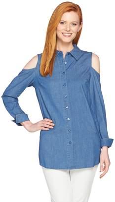 Denim & Co. Button Front Cold Shoulder Denim Tunic
