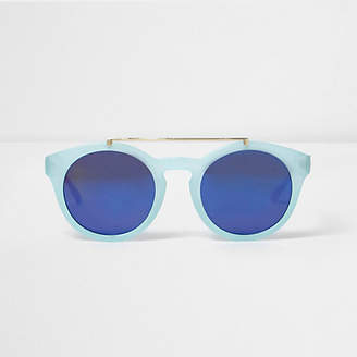 River Island Womens Light Blue round flat brow bar sunglasses