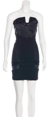 Alice + Olivia Leather-Trimmed Strapless Dress