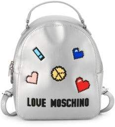 Love Moschino Pixelated Patch Metallic Backpack