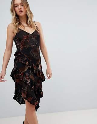 Honey Punch Layered Cami Dress In Sheer Velvet Burnout