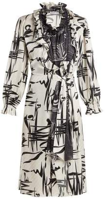 Balenciaga Abstract Print Silk Dress - Womens - White Multi