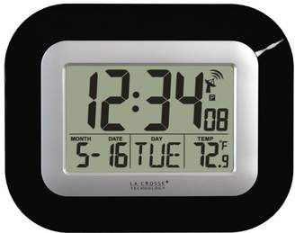 La Crosse Technology WT-8005U-B Atomic Digital Wall Clock with Indoor Temperature