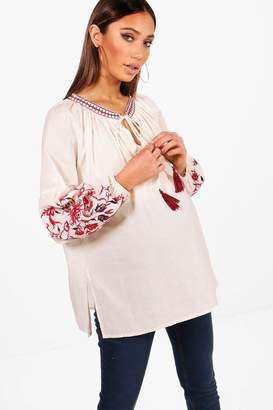 boohoo Maternity Embroidered Boho Blouse