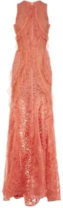 Elie Saab Sleeveless Lace Maxi Dress