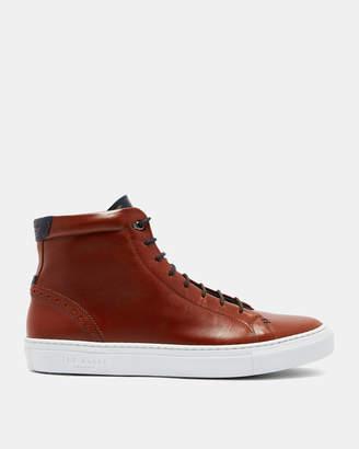 Ted Baker MONERRK Brogue detail leather hi-top sneakers