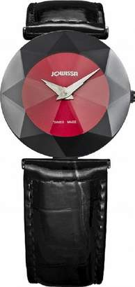 Jowissa Women's J5.091.M Facet Stainless Steel Red Sunray Dial Genuine Leather Watch